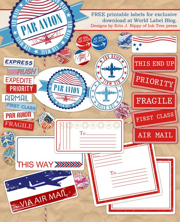 Free Printable Air Mail label kit -- send a letter or a parcel overseas via airmail. Designed by @Erin Rippy - Ink Tree Press This wonderful Par Avion collection of labels for all your envelopes and packages to be sent overseas via Air Mail – yes making them look really cool for the recipient.