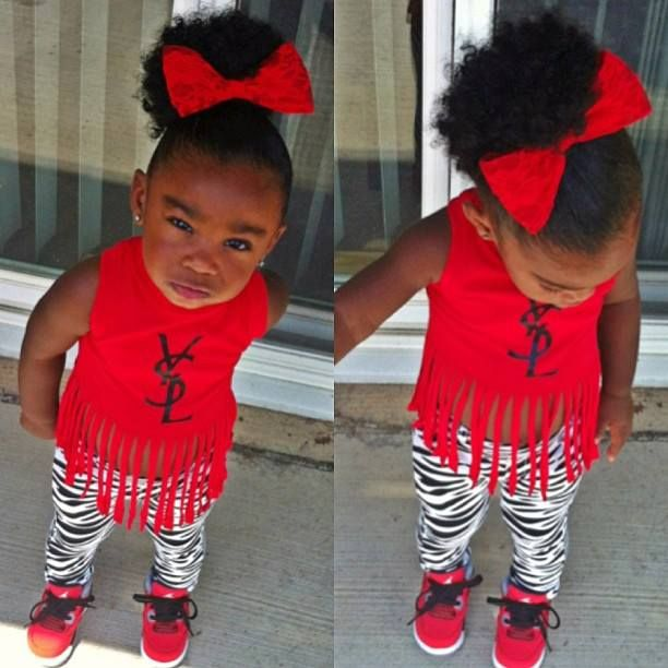 cool kid fashion baby swag girl red ysl