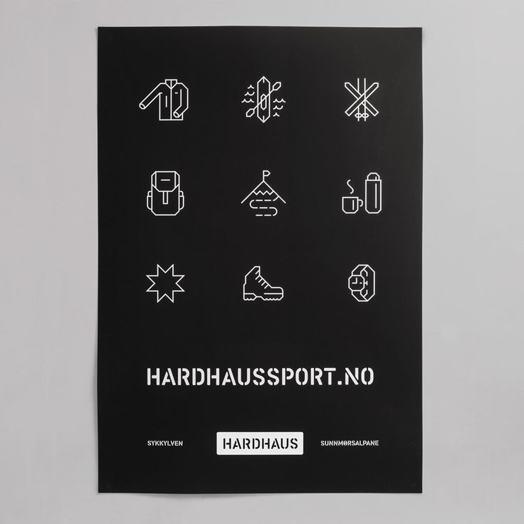 Icons and print designed by Heydays for mountain sports retailer Hardhaus