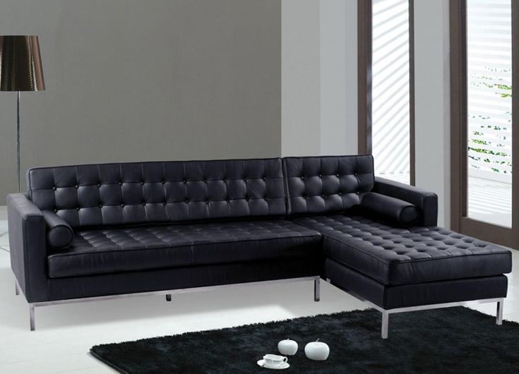 Living Room Ideas With Black Leather Sectional Part - 34: Black Sofas Of Modern Look In A Living Room : Modern Black Leather Sectional  Sofa