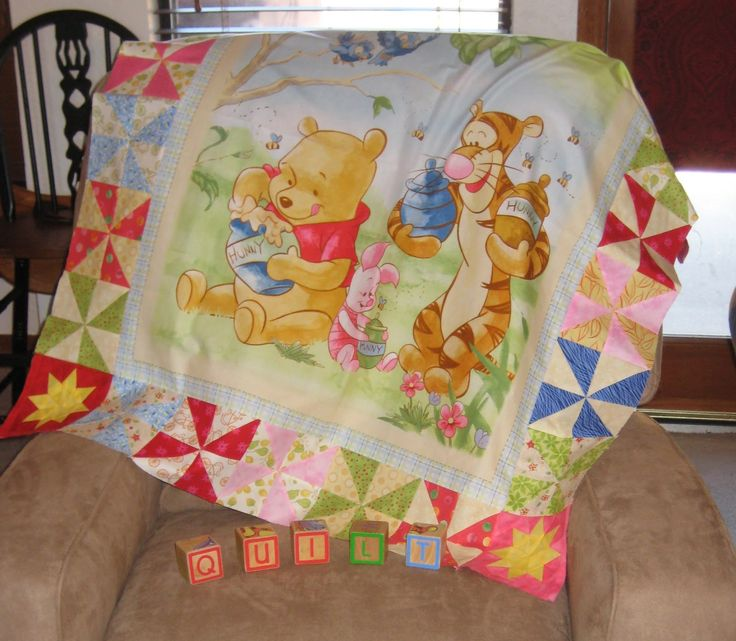 Robin Loves Quilting: Winnie the Pooh Finish - more detail about the quilt + how to do the corner blocks