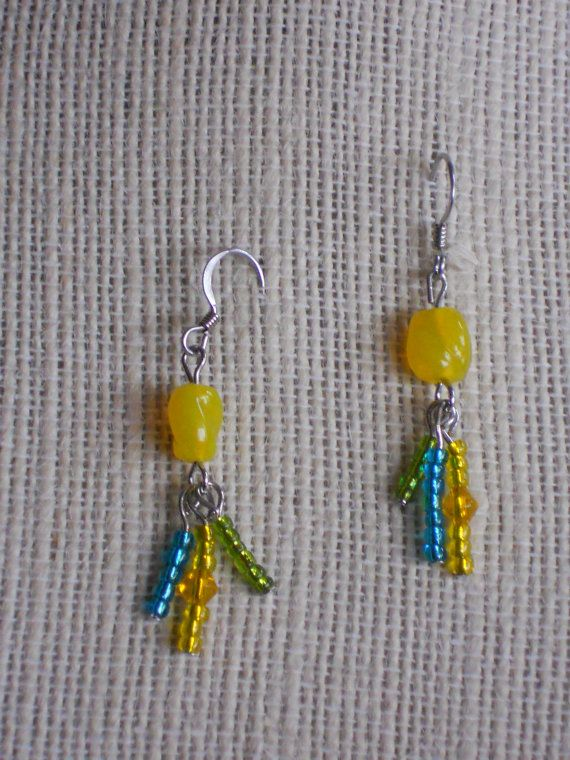Earrings dangle  yellow turquoise green by CrisCreationStation, $7.50
