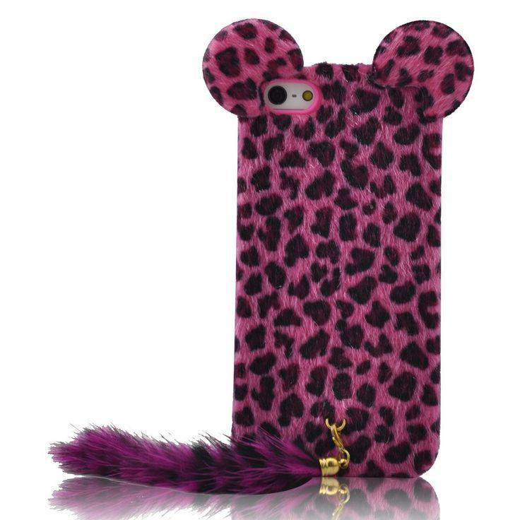 Hot Pink Cute 3D Plush Tail Leopard TPU Case Cover Skin ...