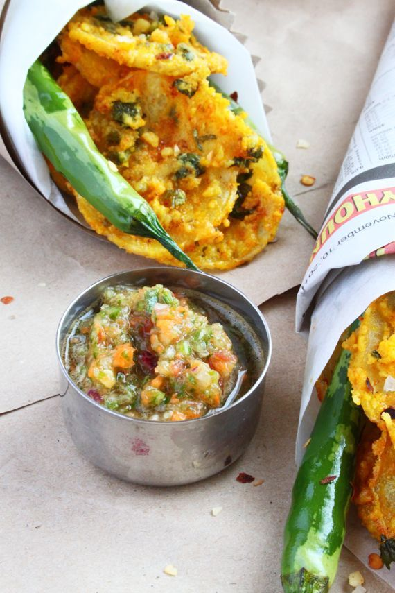 Crispy Potato Bhajia..an Indian snack...if anything, I just wanna make this cucumber relish!