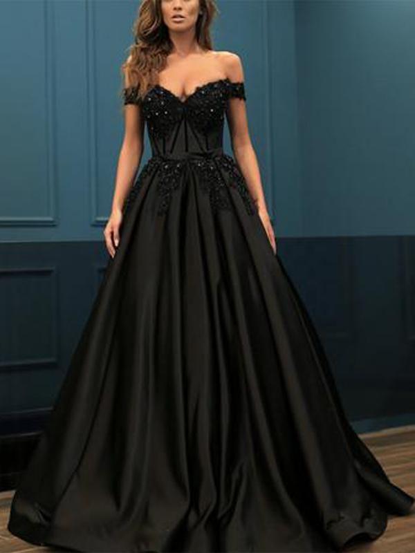 Off Shoulder Long A Line Black Satin Lace Beaded Prom Dresses Beaded Prom Dress Ball Dresses Prom Dresses Ball Gown