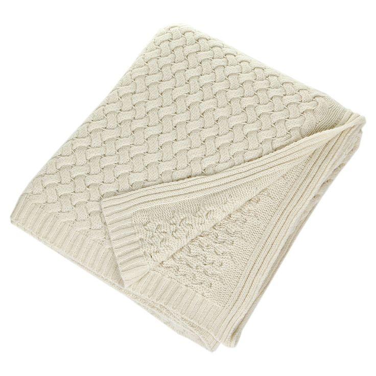 Discover the Sofia Cashmere Cream Piemonte 9 Ply Basket Weave Knit Throw at Amara