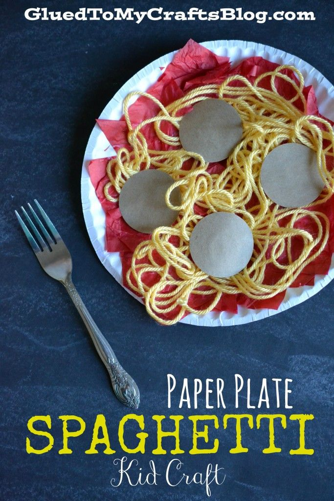Food Craft Ideas For Kids Part - 50: Paper Plate Spaghetti {Kid Craft}