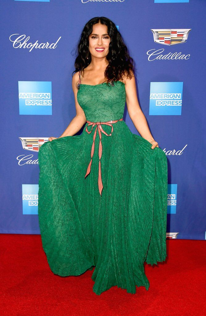 Salma Hayek in Gucci attends the 29th Annual Palm Springs International Film Festival Awards Gala. #bestdressed