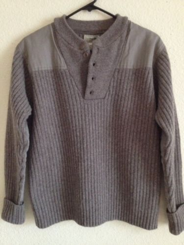 LL BEAN Mens Sweater Crewneck 100% Merino Lambs Wool Shoulder&Elbow patches Sz L