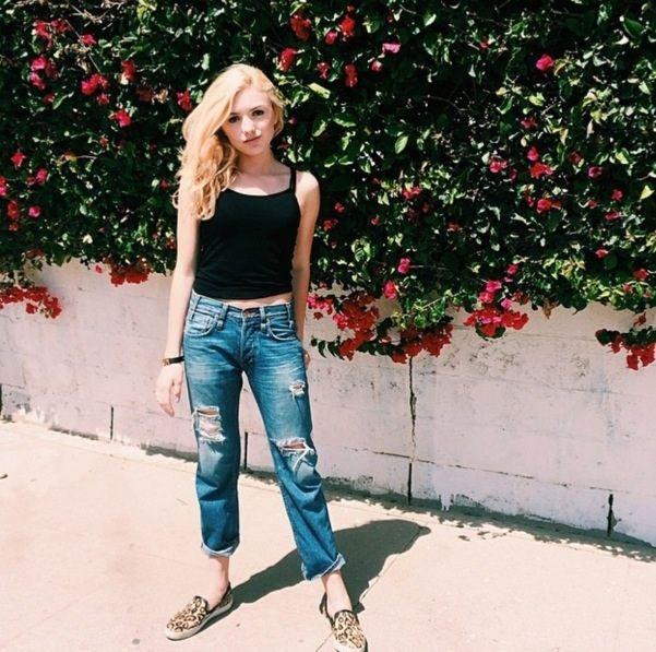Photo: Peyton List Pretty In Blue Jeans April 24, 2014