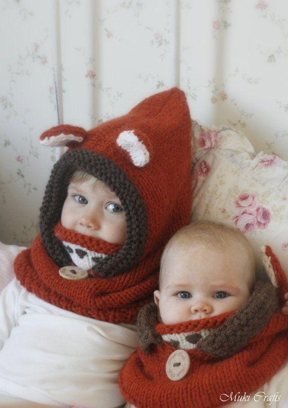 Knit fox hood cowl Rene PDF knitting pattern in by MukiCrafts