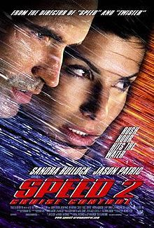 Speed2: Cruise Control is a 1997 American action thriller film, and a sequel to Speed (1994).  Sandra Bullock stars in the film, reprising her role from Speed, while Jason Patric and Willem Dafoe co-star.