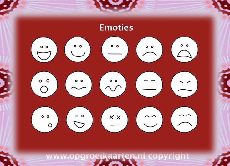 emotiekaart met 15 verschillende emoties