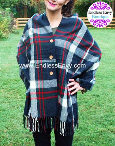 Plaid Button Scarf Navy - Blanket Scarf - Endless Envy Boutique - Clothing & Jewelry