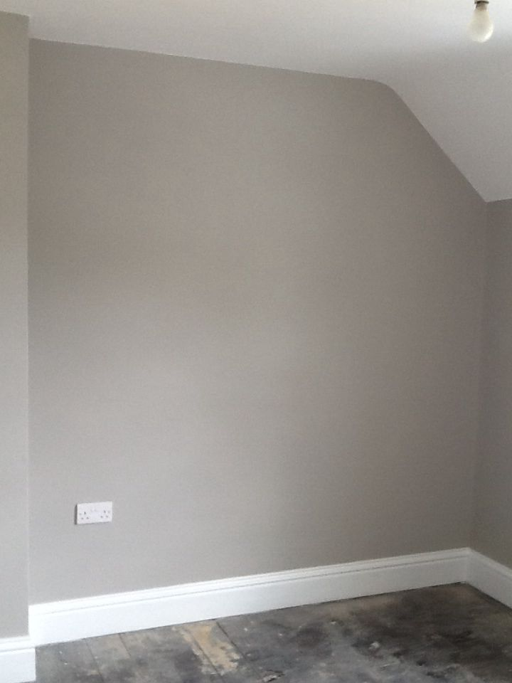 2nd bedroom painted. Colour is Purbeck Stone from Farrow and Ball