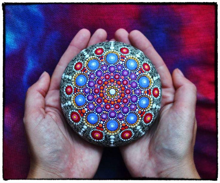 Giant Jewel Drop Mandala stone by Elspeth McLean #rockart #paintedstone #elspethmclean #mandala #dotty #dots
