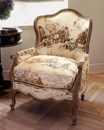 French Country Setting Fabric on Distressed wood frame - Houzz.com