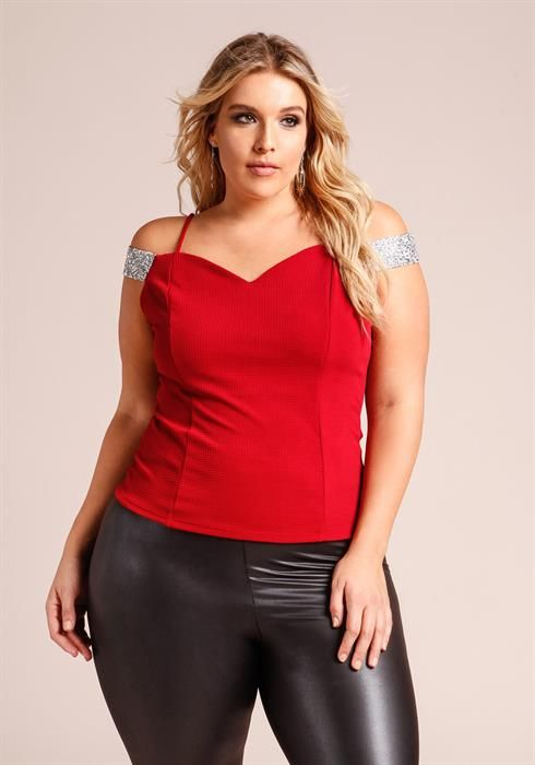 $24.95---RED---Plus Size Cold Shoulder Rhinestone Studded Strap Blouse