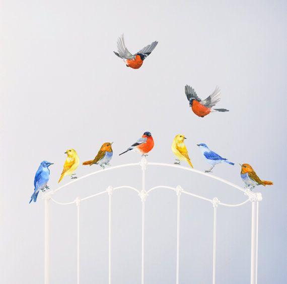 Vogels vogels in vlucht speelkamer Decor aquarel door chocovenyl