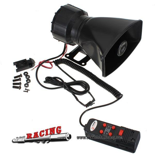 Sirena Megáfono Grabador para Coche con 5 Sonidos 60W 300DB para Coche Camión Repartidor -- 20,89€
