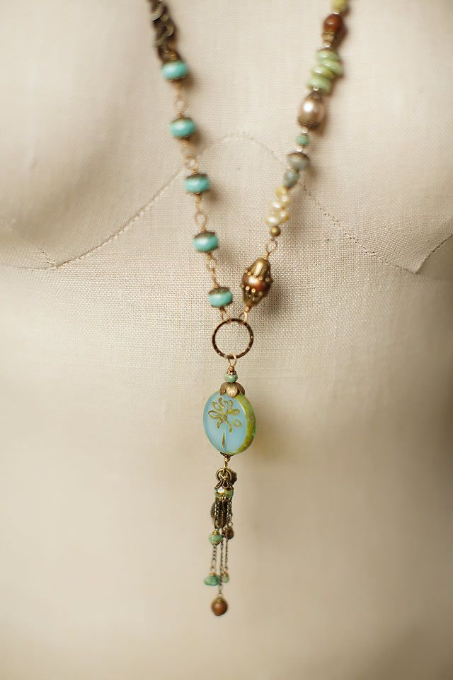 Rustic Creek - This handcrafted gemstone long necklace features a hand made Czech glass dragonfly focal that symbolizes change & transformation