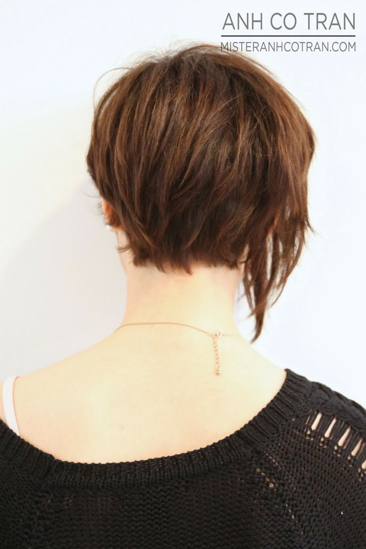 asymmetrical short hairstyle, brown short hair ~I like the back of this one.