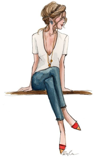 : Watercolor, Love Sketch, Cool Sketches, Fashion Sketches, Drawing Fashion, Cute Sketches, Pretty Drawings, Hair, Fashion Illustrations