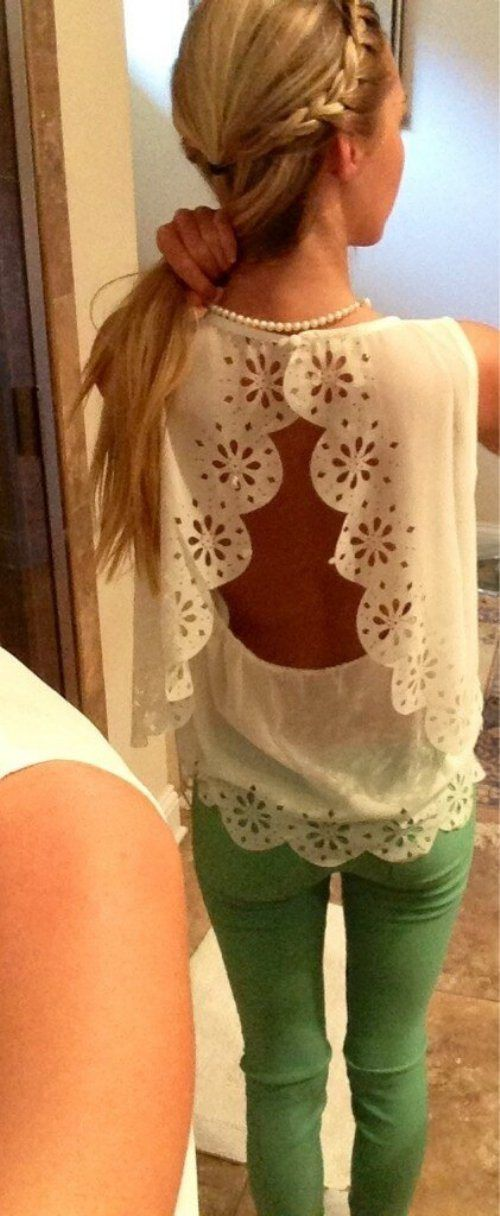 open back lace top with colored skinnies