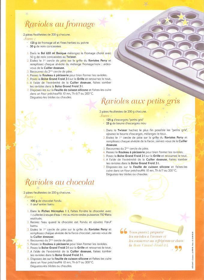 Ravioles au Fromage Ravioles aux Petits Gris Ravioles au Chocolat Tupperware