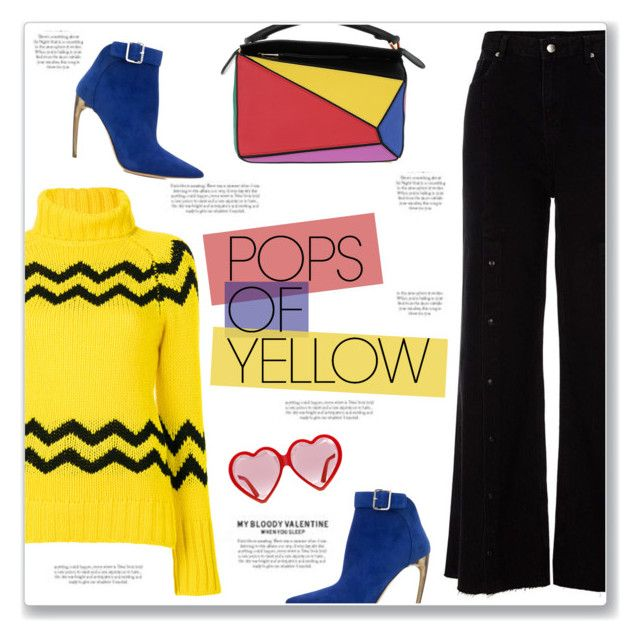 """""""Get Happy: Pops of Yellow"""" by kellylynne68 ❤ liked on Polyvore featuring Loewe, Joseph, River Island, Alexander McQueen, Gucci, yellow, colorful, PopsOfYellow and NYFWYellow"""