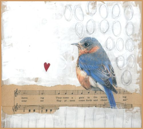 Vintage and found papers, collage, gesso, pencil. love art journals