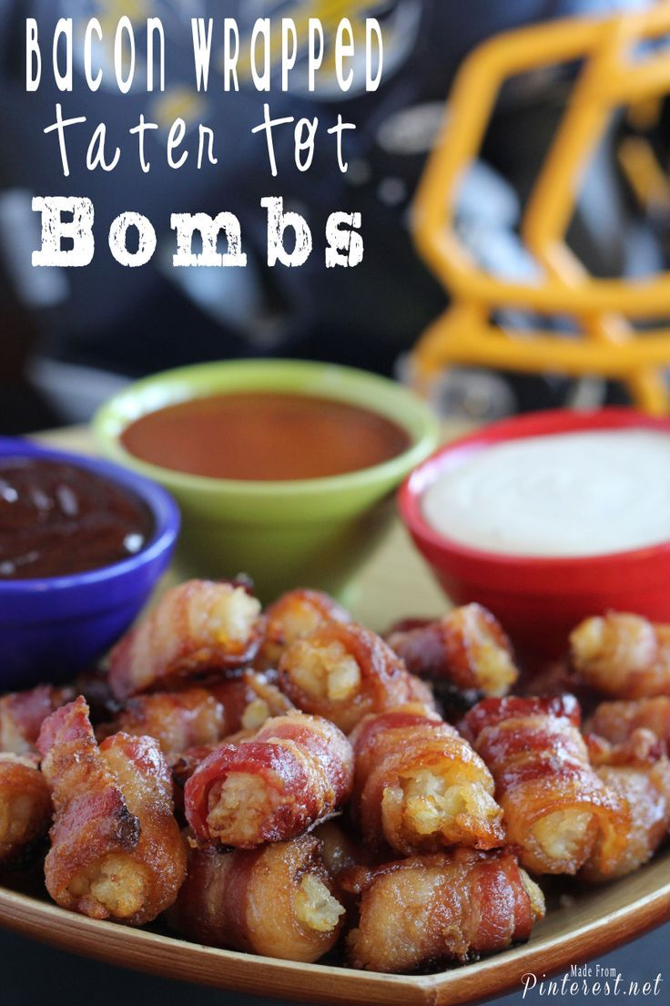 Bacon Wrapped Tater Tot Bombs Recipe. What a great #appetizer or #tailgating snack. It's like a beautiful, tiny little heart attack on a plate. Wrapped in bacon.