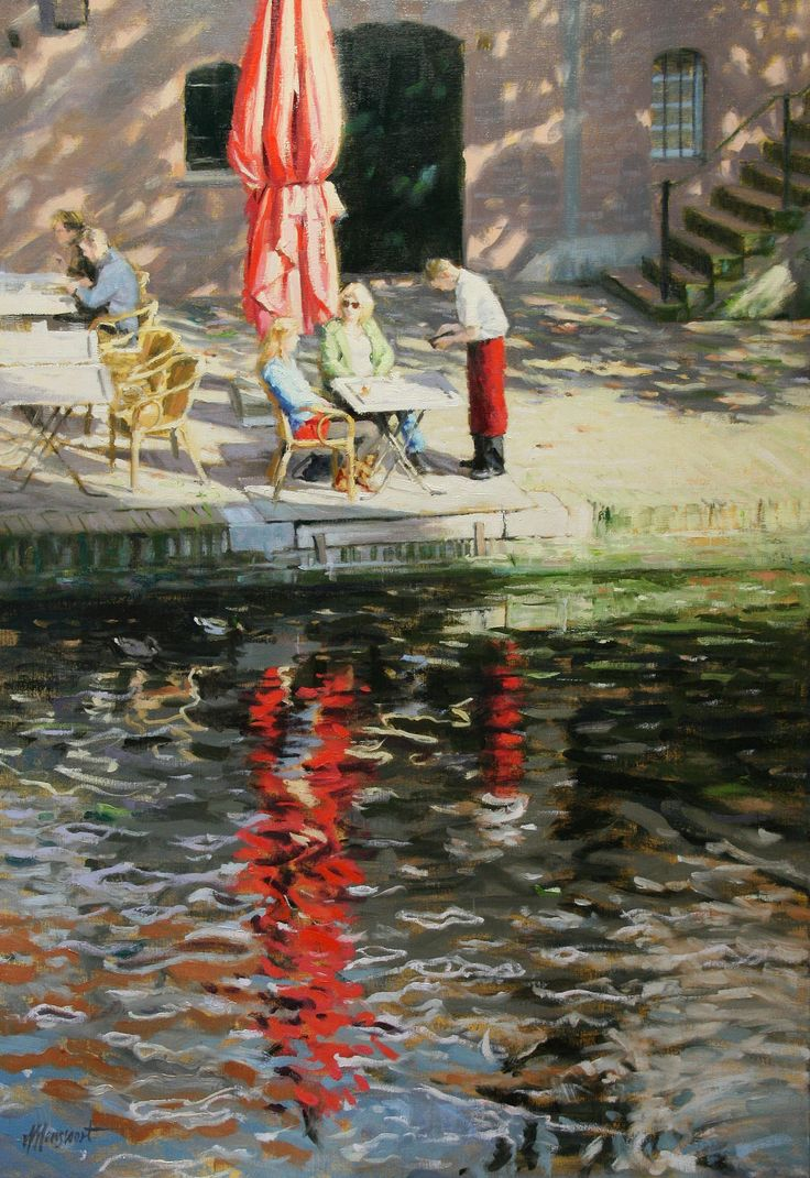 Terras aan de gracht | oil on linen painting by Richard van Mensvoort