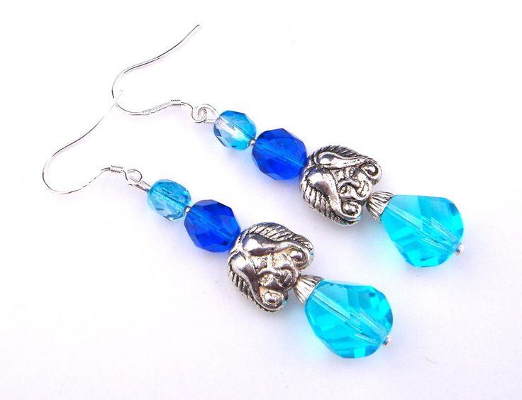Vintage Earrings Czech Glass Silver Hook Drop Dangle Long Blue Face Fairy Lady #Unbranded #DropDangle