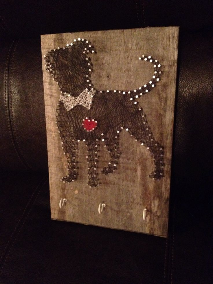 String art - Pitbull leash holder.