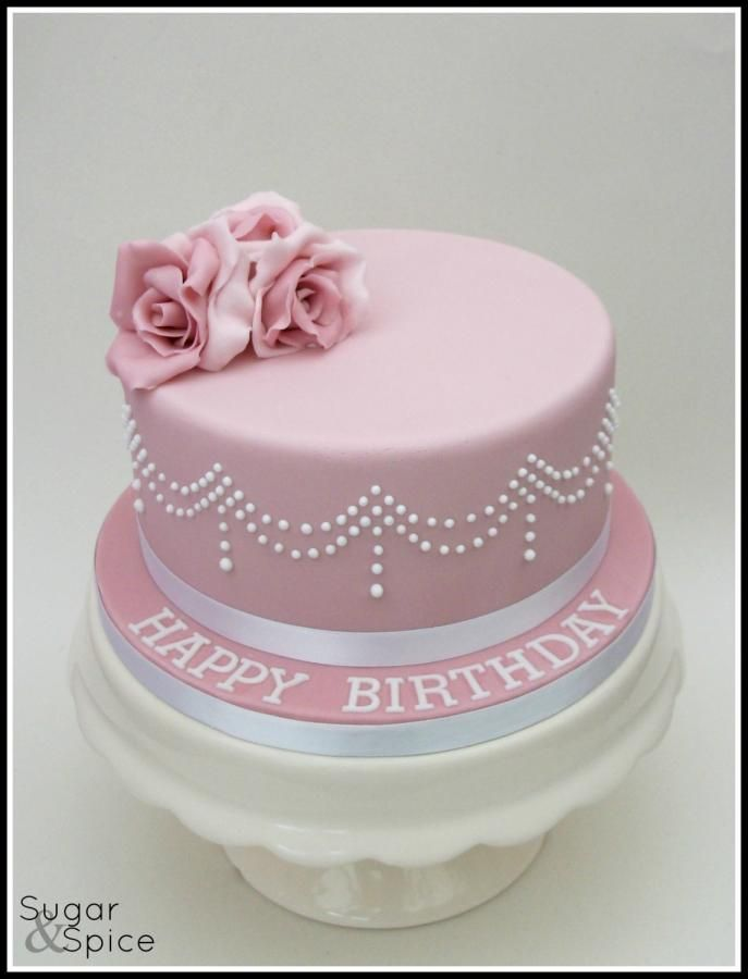 Pretty In Pink ... pink cake with roses and royal icing piped beading