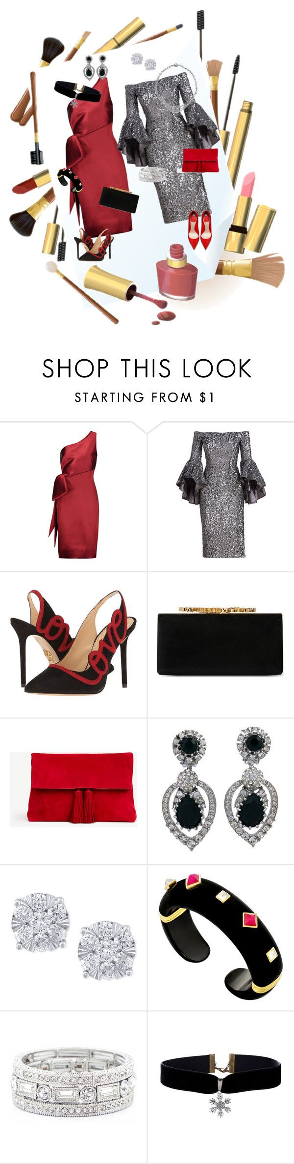 """Girls Evening Out"" by jeanstapley ❤ liked on Polyvore featuring NOIR Sachin + Babi, Milly, Charlotte Olympia, Jimmy Choo, Ann Taylor, Ciner, Effy Jewelry and Sole Society"
