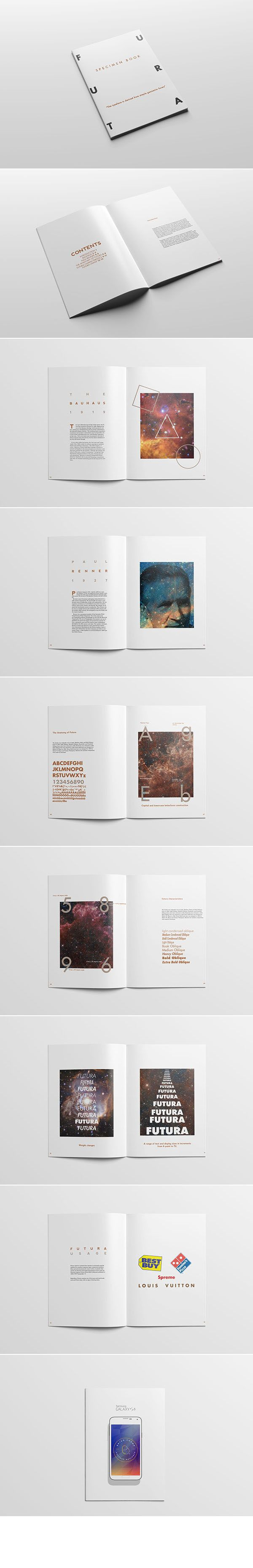 A Type Specimen Magazine showcasing Futura geometric Sans Serif typeface. #brianchamp