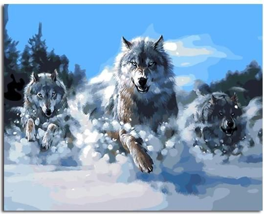 Wolf Pack Paint By Numbers Kit Painting By Numbers Inspired By Crafts Wolf Painting Diy Canvas Wall Art
