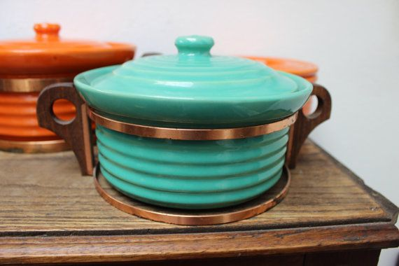 "Bauer Pottery Ringware Casserole Jade Green Copper Rack VINTAGE California 7"" on Etsy, $165.00"