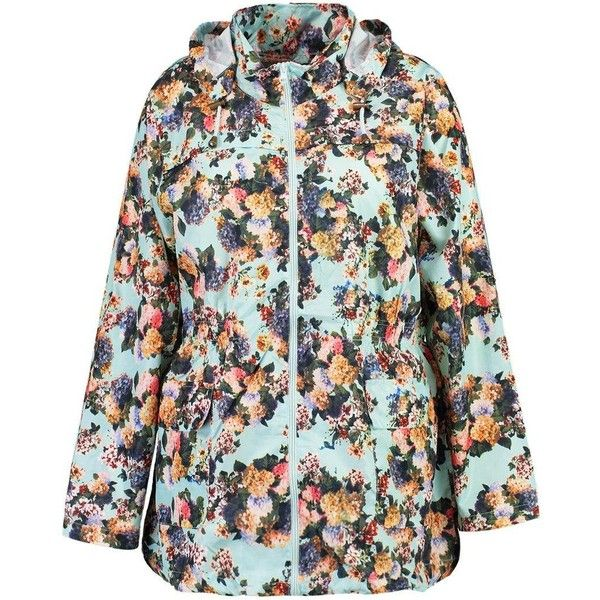 Boohoo Plus Felicity Floral Print Hooded Mac (47 CAD) ❤ liked on Polyvore featuring outerwear, coats, boohoo coats, mac coat, puffy coat, wrap coat and bomber coat