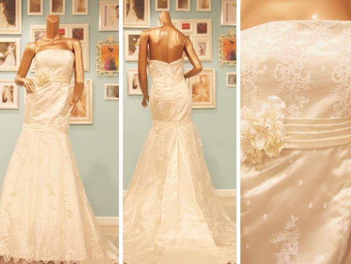 Sleeveless lace wedding dress.