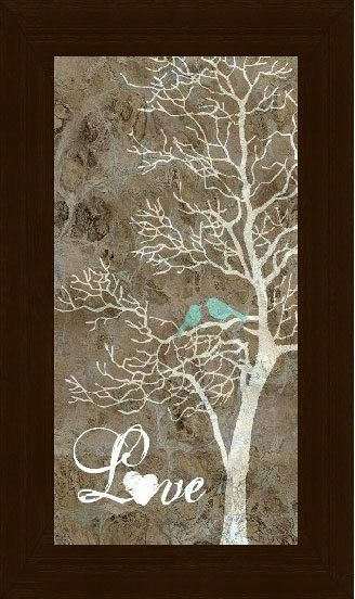 Love Blue Birds Picture Sign White Tree Art  by SummerSnow0123, $22.95