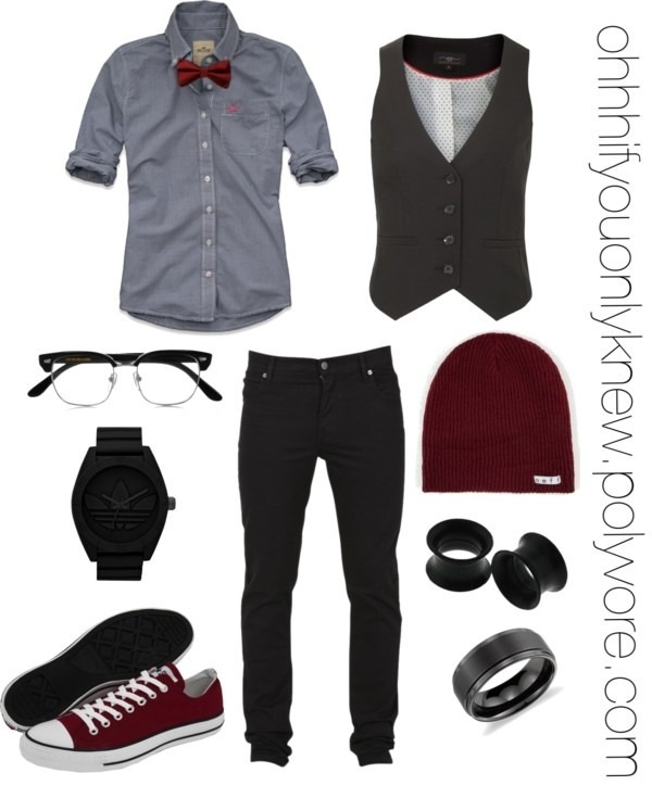 bow tie shirt and beanie... this is what i want to go for on my 8th grade promotion