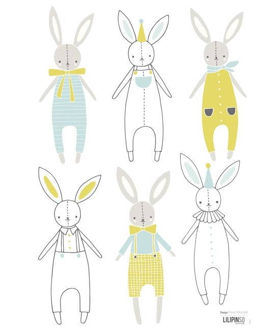 Sticker chambre enfant lapin garçon - Flora Waycott / Lilipinso wall stickers for boys