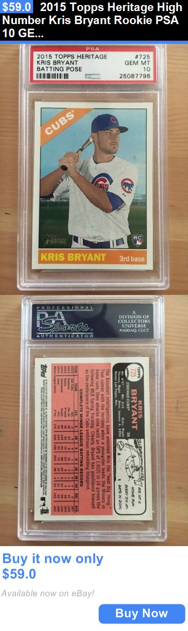 Sports Memorabilia: 2015 Topps Heritage High Number Kris Bryant Rookie Psa 10 Gem Sp BUY IT NOW ONLY: $59.0