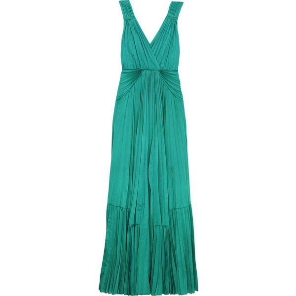 Delha jersey maxi dress ($335) ❤ liked on Polyvore featuring dresses, gowns, long dresses, vestidos, green dress, women, pleated maxi dress, blue dress, blue gown and green gown