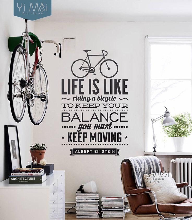 Decoração, A vida é como andar de bicicleta, Para manter o balanço você deve manter em adesivos de parede, Papel de parede em Papéis de parede de Casa & jardim no AliExpress.com   Alibaba Group