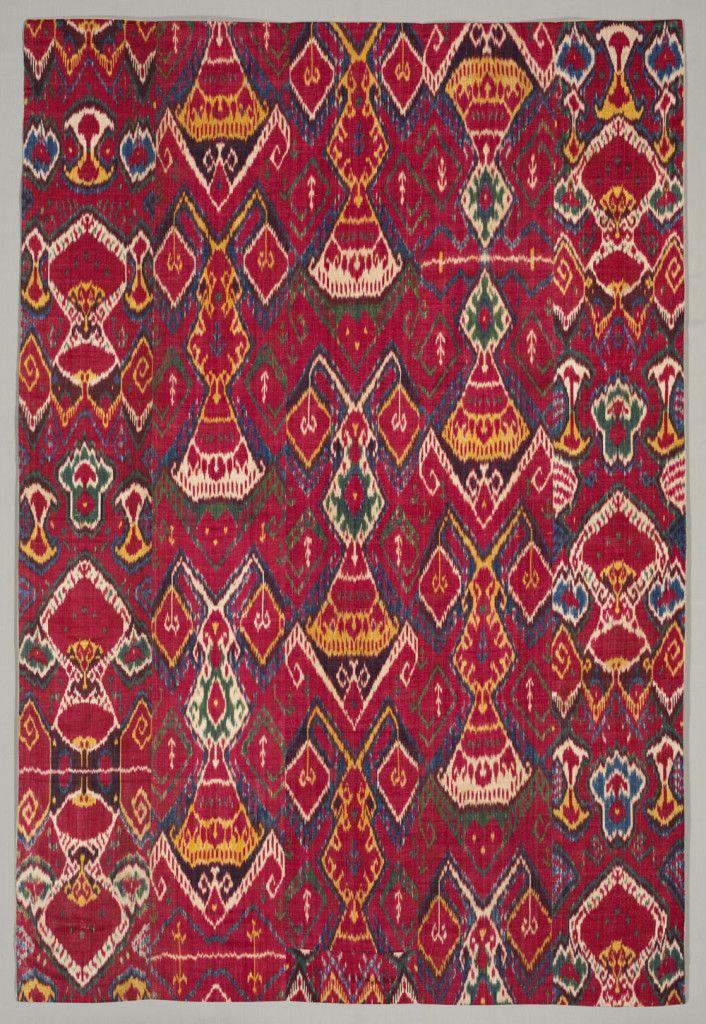 Silk ikat wall hanging, Bukhara, Uzbekistan, 1800–1850. Silk warp, cotton weft; warp ikat, warp-faced plain weave; 208.90 x 141.60 cm. The Cleveland Museum of Art, Gift of Guido Goldman 2006.150