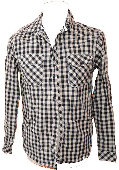 BRUMLA.CZ – Značkový dětský a dospělý second hand a outlet, použité oděvy pro děti a dospělé - Pánská tmavomodro-bílá kostkovaná košile zn. Cedarwood state vel. S
